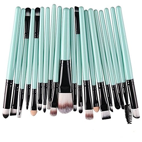 Kolight 20pcs Cosmetic Makeup Brushes Set Eyeshadow Lip Brush for Beautiful Female (Green+Black)