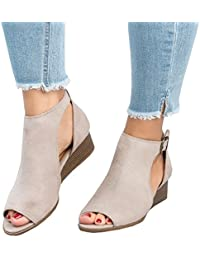 Women Peep Toe Ankle Buckle Cut Out Wedge Sandals Strap Bootie Platform Sandal