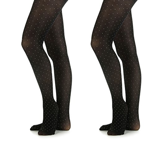 Silky Toes Microfiber Girls Opaque Footed Rhinestone Embellished Tights (Black/Silver, 8-10) by Silky Toes