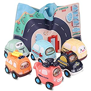 Best Epic Trends 51Z5%2B-Ci5ZL._SS300_ Baby Toy Cars with Play Mat Storage Bag, 6PCS Push and Go Car Toddler Toy Set, Kids Toy for 3 4 5 6 Year Old Boys Girls…