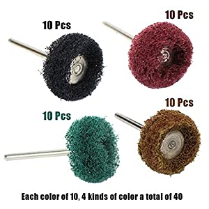 "M-Aimee 40Pcs 1"" 25mm Abrasive Buffs Polishing Buffing Wheel for Dremel Rotary Tool Grinding Accessories"