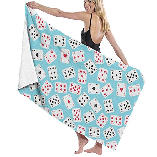 KEIOO Playing Cards Beach Towel Bath Towel Maximum Softness & Absorbency for Daily Use Outdoor Sports Travel Swim