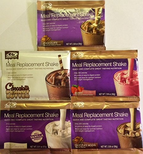 Advocare Meal Replacement Shake - Variety Pack - FIVE Single Serving Sample Pouches (Chocolate, Chocolate Peanut Butter, Berry, Vanilla, Chocolate Mocha)