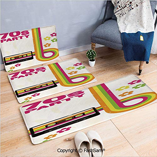 - FashSam 3 Piece Flannel Doormat Party Flyer Inspired Cute Curved Stripes Daisies Audio Cassette Tape Decorative for Kitchen Rugs Carpet(W15.7xL23.6 by W19.6xL31.5 by W19.6xL59)