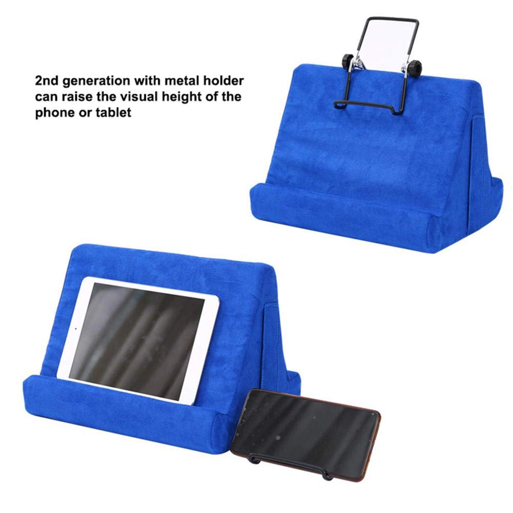 Floor Foldable Tablet Holder Book Stand Rest Reading Cushion Suitable For Bed Universal Phone And Tablet Stands And Holders Sofa Lap Desk Couch Lake Blue Tablet Stand Pillow Holder