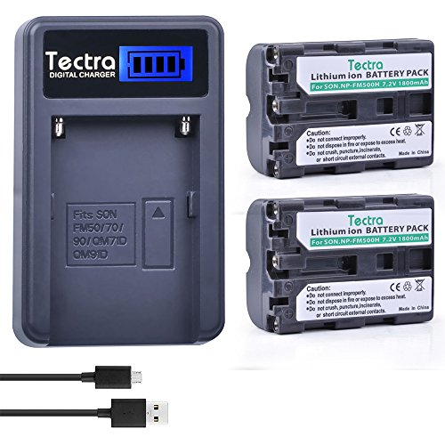 Tectra 2Pcs Sony NP-FM500H Replacement Battery + Smart LCD Display USB Charger for Sony Alpha a68, a77II, SLT-A57, A58, A65V, A77V, A99V, A100, A200, A300, A350, A450, A500, A550, A560, A580, SLT-A700