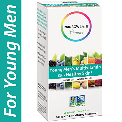 Rainbow Light Vibrance Young Men s Multivitamin Plus Healthy Skin Support, 180 Count Mini-Tablets, Dietary Supplement Made with Whole Foods