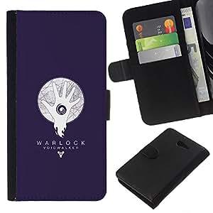 KLONGSHOP // Tirón de la caja Cartera de cuero con ranuras para tarjetas - Warlock abisario Azul - Sony Xperia M2 //