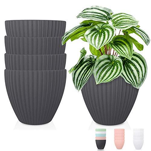 Plastic Planters Indoor Plant Pots – Thick Plastic Planter Pot Modern Decorative Large Gardening Pots for Plants…