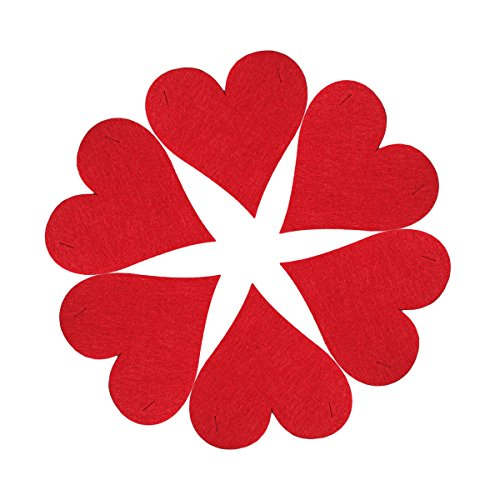 Tinksky 6Pcs Red Heart Shaped Wall Stickers Party Accessory Wedding Reception Decoration Photo Booth Props Wedding
