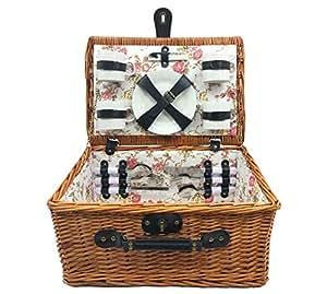 Homeworks 4-Person Willow Picnic Basket (Cream)