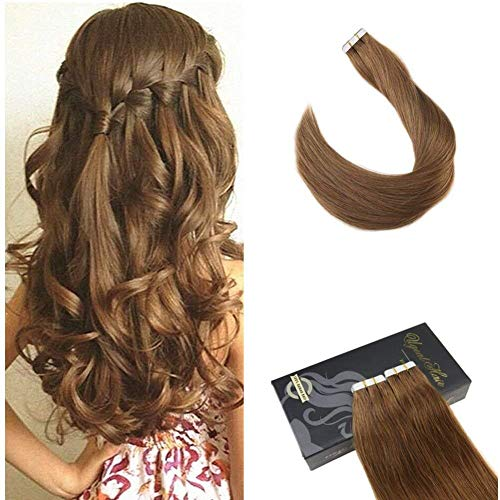 (Ugeat 22inch Tape in Human Hair Extensions 50 Gram Per Package Light Brown Color #8 Glue in Human Hair Skin Weft Real Human Hair Tape on Hair Extensions)