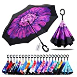 Owen Kyne Windproof Double Layer Folding Inverted Umbrella, Self Stand Upside-Down Rain Protection Car Reverse Umbrellas with C-Shaped Handle (New Violet Flower)