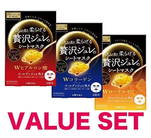 Premium Mask - PREMIUM PUReSA facial sheet mask(W collagen,hyaluronic acid,W Royal Jelly)33gx 3sheets(Pack of 3)