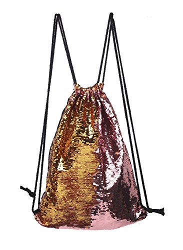 VigourTrader Girl Glitter Sequin Drawstring Bag Gym Sack Sport Backpack Tennis Knapsack