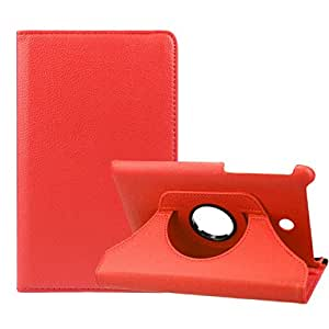 Sannysis(TM) 1PC Simple 360 Degree Rotating Leather Case Cover For ASUS Fonepad 7 ME372CG (Red)