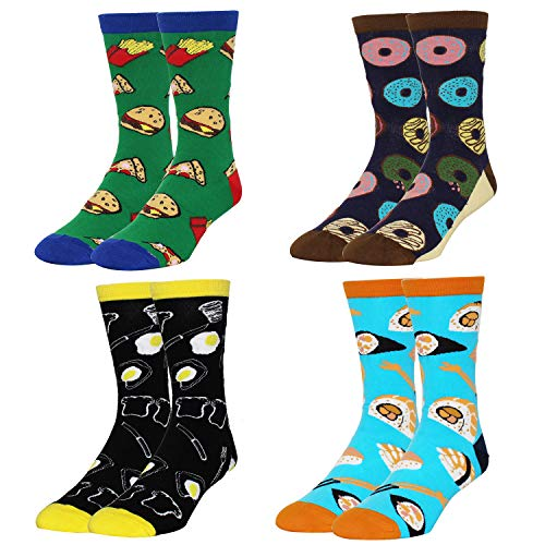 Zmart Men's Novelty Funny Crazy Food Crew Socks Donuts Sushi Egg Dessert Dress Sock, 4 Pack with Gift Box