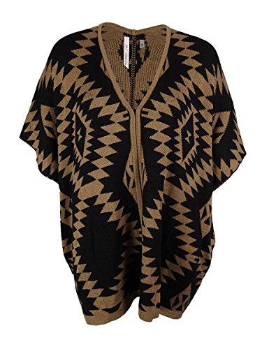 - NY Collection Women's Tribal Intarsia Poncho Cardigan (S/M, Tan/Black)