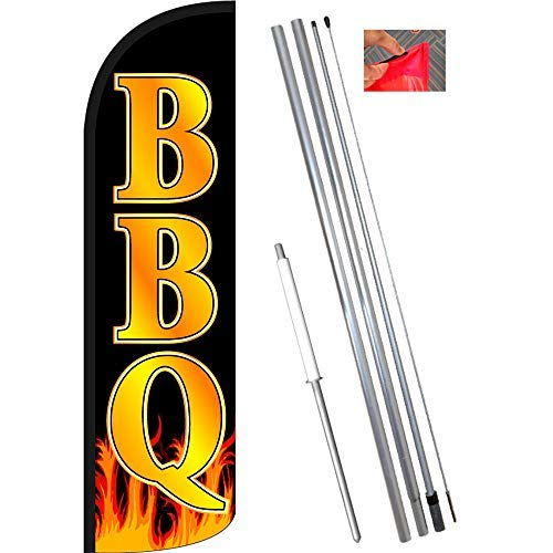 Vista Flags BBQ Windless Feather Banner Flag Kit (Flag, Pole, Ground Mt)