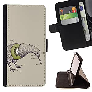 BullDog Case - FOR/Sony Xperia Z3 D6603 / - / kiwi bird fruit art drawing pencil word green /- Monedero de cuero de la PU Llevar cubierta de la caja con el ID Credit Card Slots Flip funda de cuer