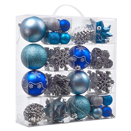 Valery Madelyn 70ct Winter Wishes Shatterproof Christmas Ball Ornaments Decoration Silver and Blue,1.57Inch-3.15Inch for Christmas Tree Decorations (Theme And Christmas Tree Blue Silver)