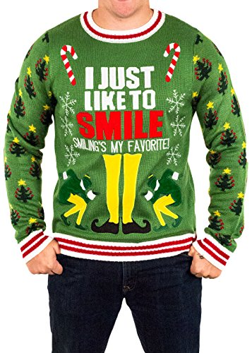 Movie Quality Buddy The Elf Costume (Men's Elf Smiling's My Favorite Ugly Christmas Sweater in Green By Festified (Large))