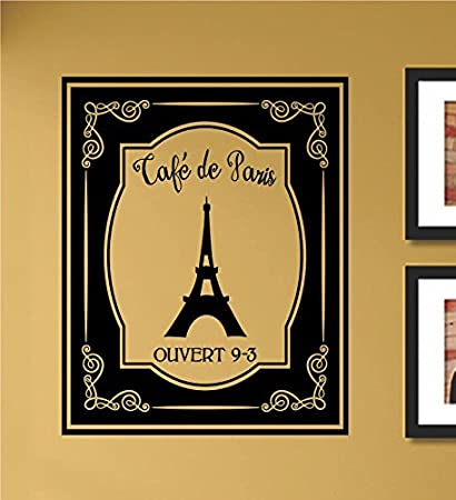 Amazon.com: Cafe De Paris Eiffel Tower Vinyl Wall Art Decal Sticker ...