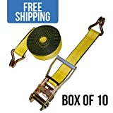 2' x 27' Ratchet Strap with Wire Hooks - 10 Pack - Shippers Supplies