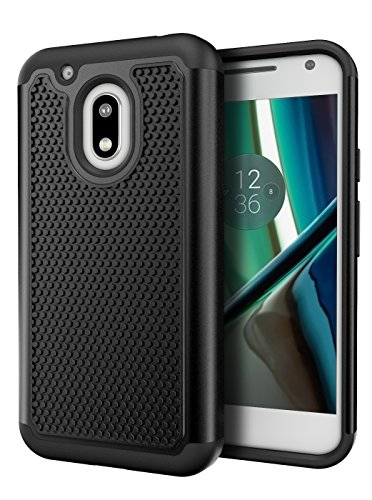 Moto G Play Case, Cimo [Shockproof] Heavy Duty Shock Absorbing Dual Layer Protection Cover for Motorola Moto G4 Play (2016) - Black (Moto G Speaker)
