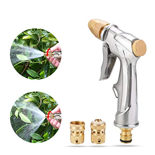 niahode Garden Hose Nozzle, Heavy Duty Metal Spray Gun, 360° Rotaing Water Adjustmen High Pressure Leak Proof Pistol Grip Sprayer for Car Washing, Plants Watering, Pets Shower,Cleaning (Short, Silver)