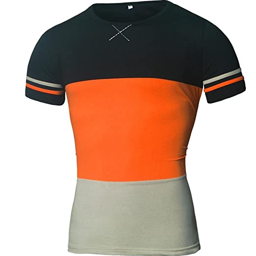 a946874b79ab4 iHPH7 Mens Blouse Plus Size Splicing Shirt Short Sleeve T-Shirt Tops ...