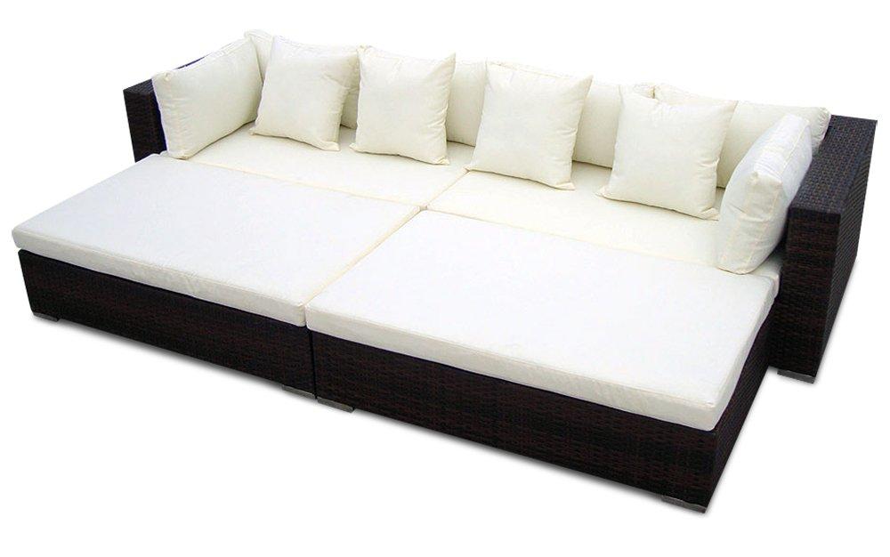 Gartenmöbel Polyrattan Lounge PARIS 280 x 165 cm | 9cm Polster (Braun)
