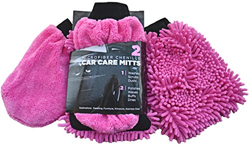 Car Wash Mitt & Duster (2 Pink Mitts) - Classic Car Accessories Gift Set - Dual-Sided Microfiber Washing Glove with Non-Scratch Scrubber Sponge on the Other Side - Bonus Dust & Dry Mitt Included