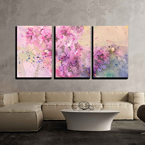 wall26 - 3 Piece Canvas Wall Art - Watercolor Branch of Lilac - Modern Home Decor Stretched and Framed Ready to Hang - 16