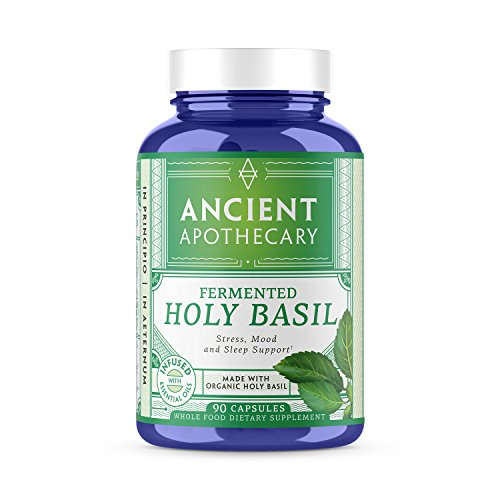 Ancient Apothecary Fermented Holy Basil Supplement, 90 Capsules - Infused with Organic Essential Oils, Ashwagandha Extract and Digestive Bitters
