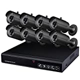 Proxy PBHD8587 AHD 8 Channel 1080P HDMI Hybrid DVR Package with 8 of 720P Outdoor Weatherproof Night Vision Cameras 500 GB HDD Installed (Black)