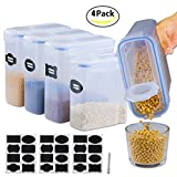 Hongyuan,Large Cereal Container Keeper[Set of 4] Air-Tight Food Storage Containers 4Lx3(135oz) 2.5Lx1(85oz) - Large Storage Keeper for Cereal, Rice, Flour, Beans, Sugar - BPA Free Clear Plastic withB,