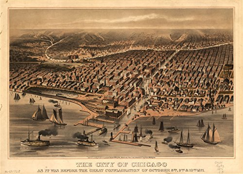 Old Vintage City Maps (24 x 18 Reprinted Old Vintage Antique Map of: c.c187 The City of Chicago as it was before the great conflagration of October 8th, 9th, & 10th, 1871. m1925)