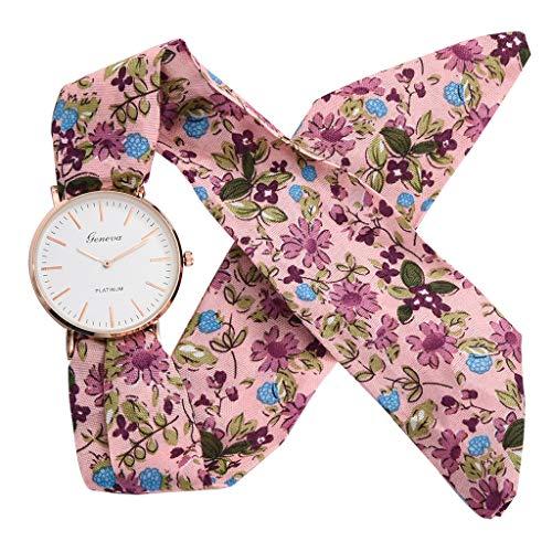 (Sodoop Women Quartz Watches [2019 Newest Summer Women Breathable Stripe Floral Cloth Quartz Glass Dial Bracelet Wristwatch Watch,Girl Gift, Swimwear)