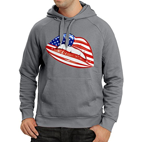 N4334H Hoodie USA Lips (Large Graphite Multicolor) (Cheerleading Outfits Cheap)