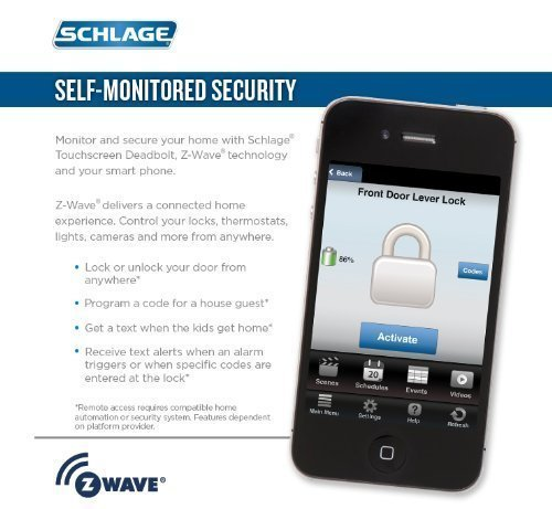 (New Model) Schlage Connect Camelot Touchscreen Deadbolt with Z-wave Technology and Extra Key BE468-2K (Aged Bronze) by Smart home (Image #2)