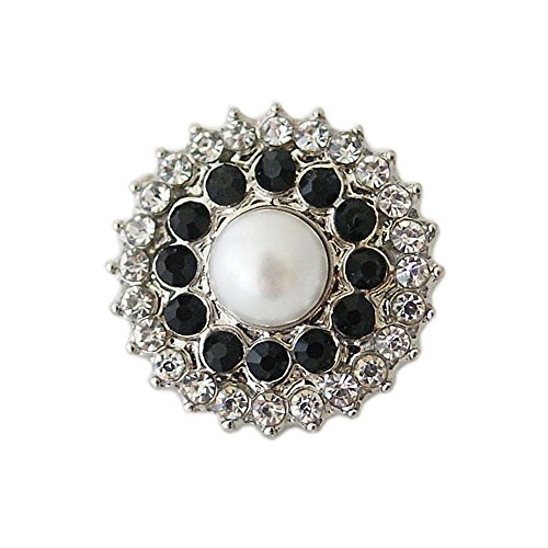 Lovmoment 20MM Round with Pearl Interchangeable Snaps Button Jewelry Chunk