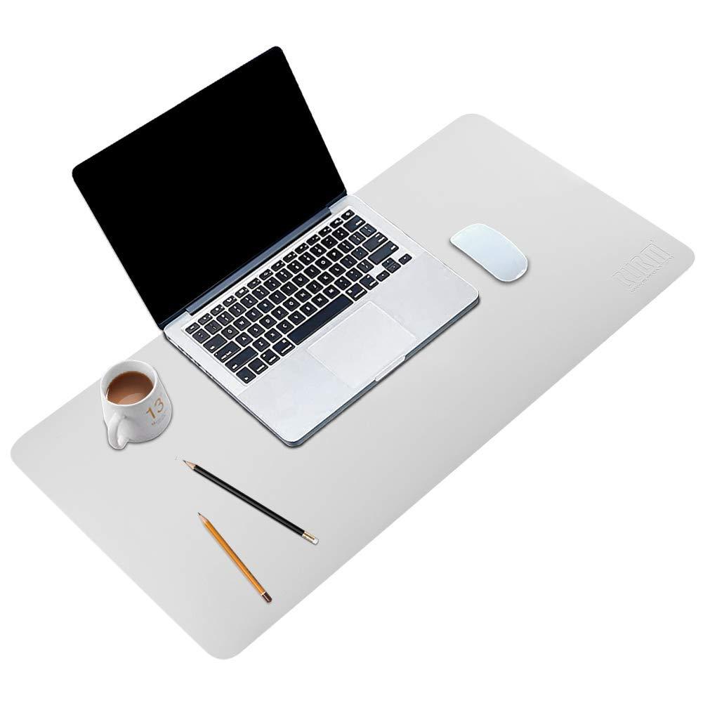 BUBM Desk Pad Office Desktop Protecter 31.5'' x 15.7'', PU Leather Desk Mat Blotters Organizer with Comfortable Writing Surface-Light Grey