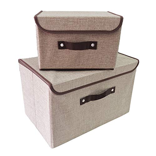 Foldable Storage Bins Storage Cubes Box with Lids and Handles Linen Fabric Durable Basket Containers Organizerfor Home, Office, Nursery, Closet, Bedroom, Set of [2-Size] ()
