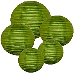 Just Artifacts (GRASS GREEN) Chinese/Japanese Paper Lanterns (Assorted: (2) 8inch, (2) 12inch, (1) 16inch) - Click for more colors!