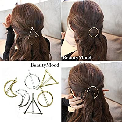BeautyMood 6pcs Minimalist Dainty Gold Silver Hollow Geometric Metal Hairpin Hair Clip Clamps,Circle, Triangle and Moon
