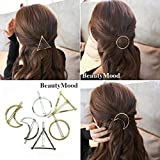 #5: BeautyMood 6pcs Minimalist Dainty Gold Silver Hollow Geometric Metal Hairpin Hair Clip Clamps,Circle, Triangle and Moon