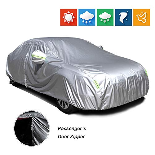 """cciyu Universal Car Cover 190T Polyester for Most Cars Up to 190"""" All Weather Protection with Mirror Pockets Reflective Open with Zipper On Passenger Side - Silver Grey"""