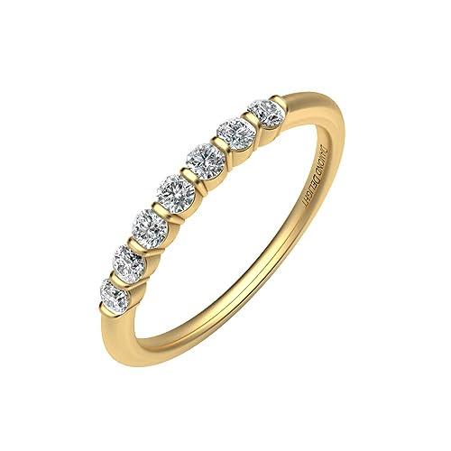 Diamond Delight Mujer 14 K 7 Juego de canal de piedra anillos de boda (i3, 1/4 Carat): Amazon.es: Joyería