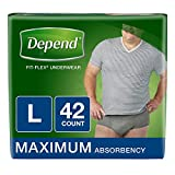 Depend FIT-FLEX Incontinence Underwear for Men, Maximum Absorbency, L, Gray, 42 Count